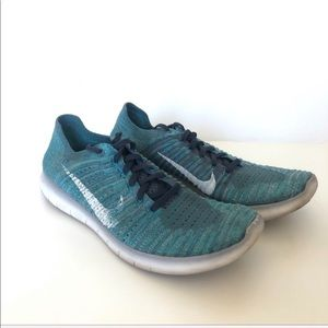 Teal Blue Nike Free Run Flyknit Shoes